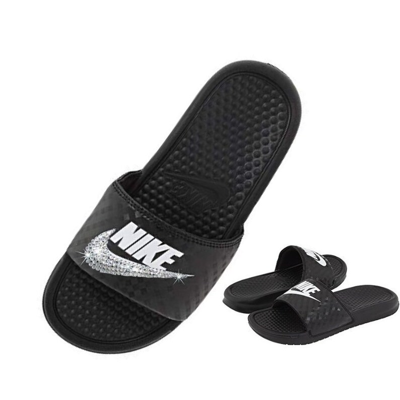 0e0b53bc7865 Swarovski Nike Slides Custom Black and White NIKE JDI Slippers