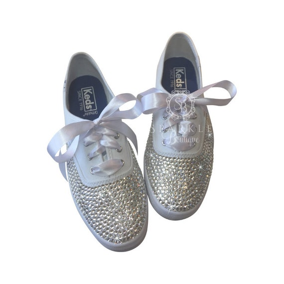 Wedding Sneakers Blinged Out With Swarovski Crystals Bedazzled Etsy