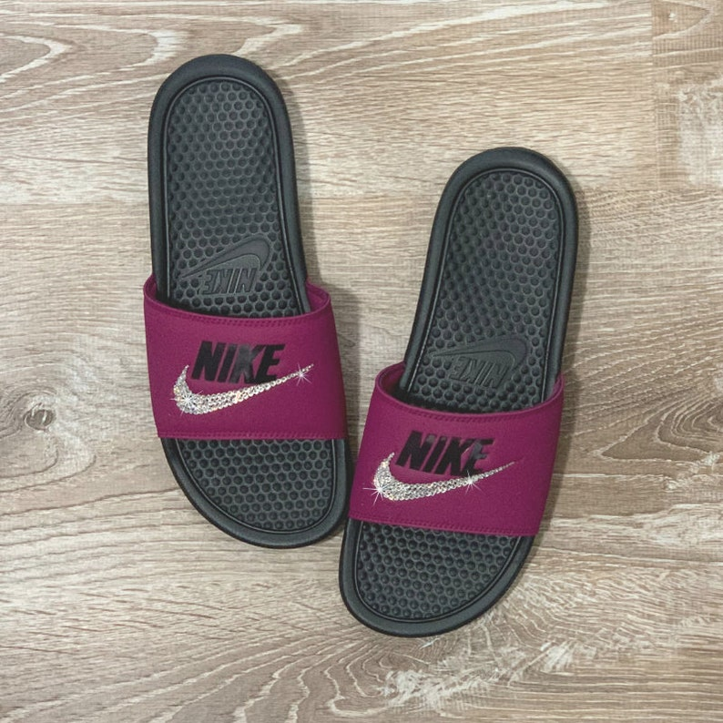 f4493be8e612 Nike Slides BLING NIKE Sandals Bedazzled Sparkly Slip On Shoes   Etsy