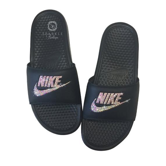 Women's Nike Slides Bedazzled Bling
