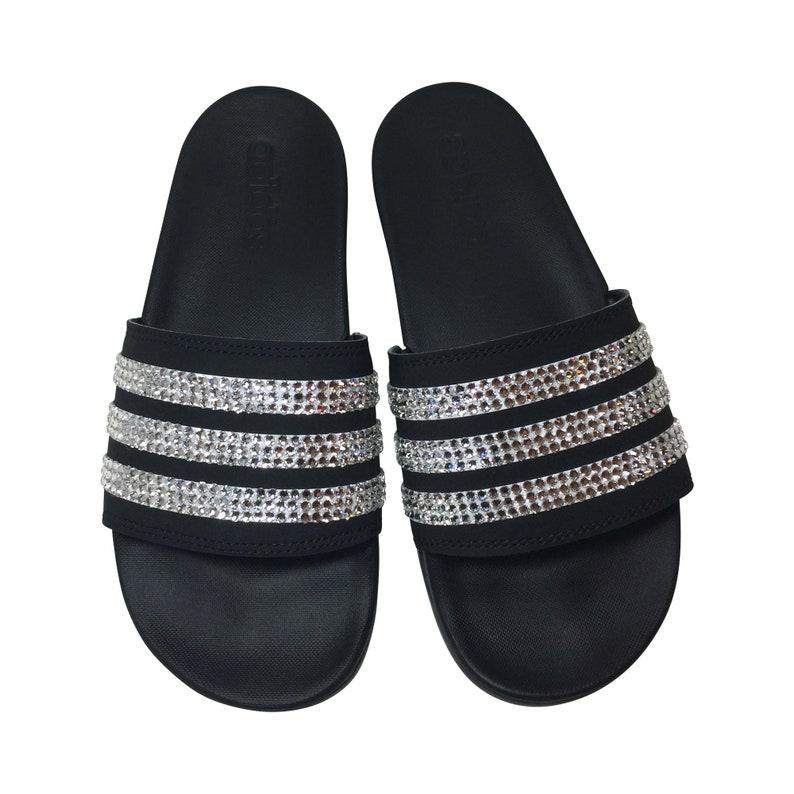 c691d3c1fb6ce Adidas Bling Slides- Bedazzled Adilette Cloudfoam Slides Custom Glitter  Blinged Out Sandals