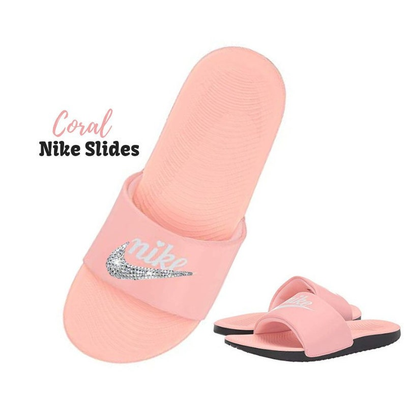 293d09ba8e6498 Women s Swarovski Nike Slides in the New CORAL Color Kawa