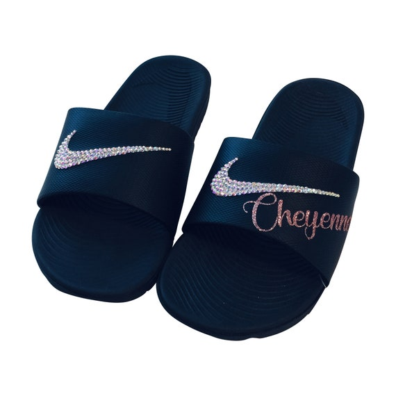 Women's Nike Slides Rose Gold and Personalized with YOUR Name Bedazzled  Sparkly Nike Sandals