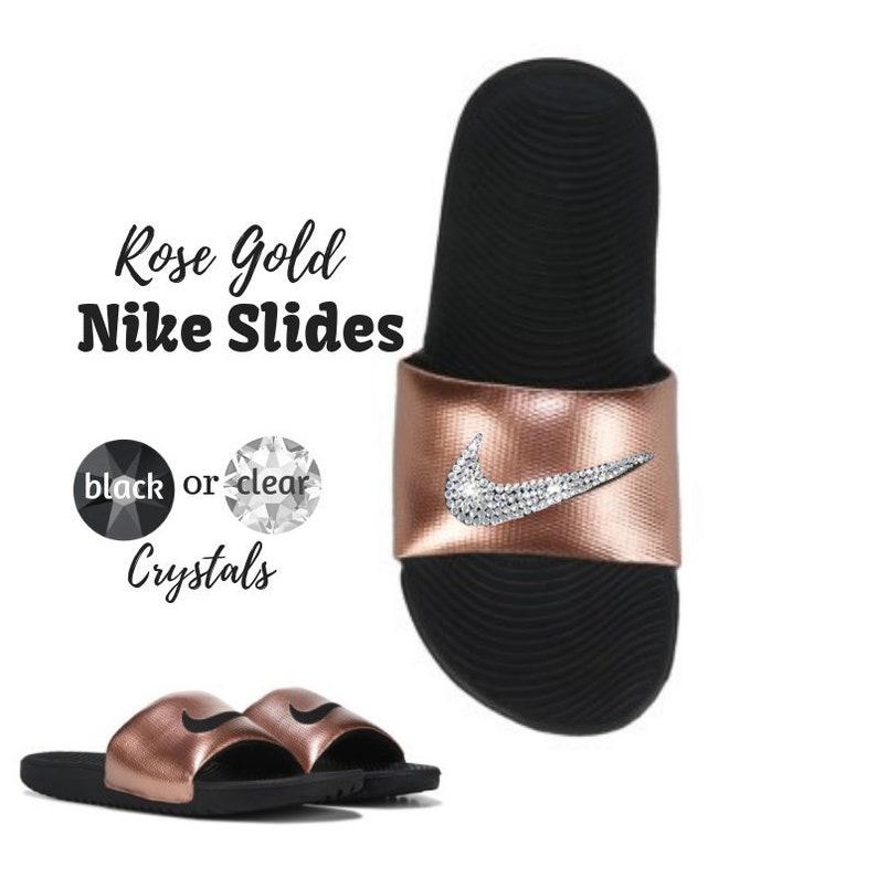 0ef09349b020 Bling Nike Slides Rose Gold Kawa Sandals Custom Blinged Out
