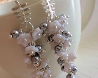 Flower cascade earrings