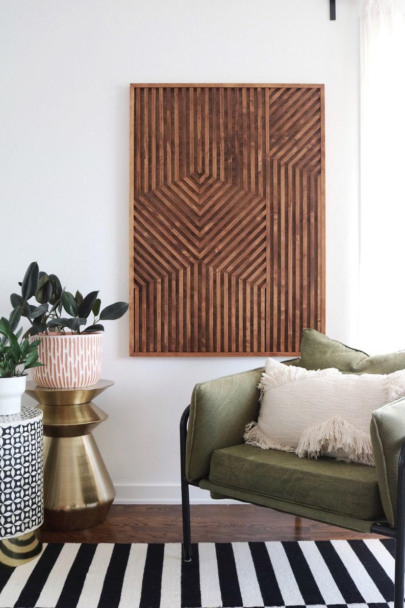 Geometric Wood Art Geometric Wall Art Wood Wall Art Wood image 0
