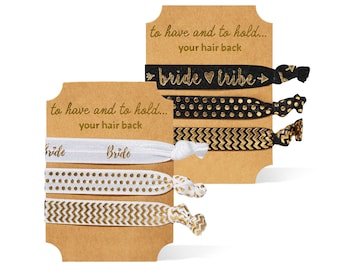 900f8c2299 11 PIECE SET of Black and Gold Bride and Bride Tribe Bachelorette Party  Hair Ties (10 Black and 1 White)