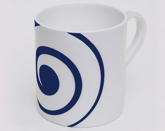 Domino Mug 2 Bone China, Contemporary Design, Coffee Mug, Blue or Grey, Eternal Circle