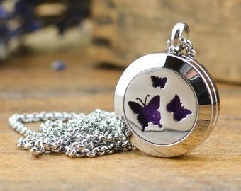 Butterfly Diffuser Necklace - Birthday Gift for Her - Butterfly Necklace - Essential Oil Diffuser Jewelry - Aromatherapy Necklace