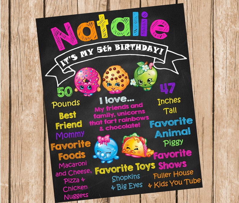 graphic relating to Printable Shopkins Posters called Shopkins Printable Birthday Chalkboard