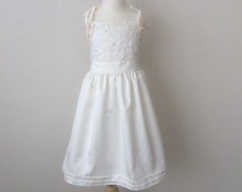 Girls' Satin & Lace Dress - Size 5, Girls Ivory Dress, Girls Party Dress , Girls Vintage Style Dress READY TO  SHIP