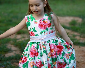 Girls Floral Dress - Custom MADE TO ORDER, Sizes 0 - 6, Roses Dress, Full Skirt Dress, Girls Summer Dress, Spring Dress, Shabby Chic Dress
