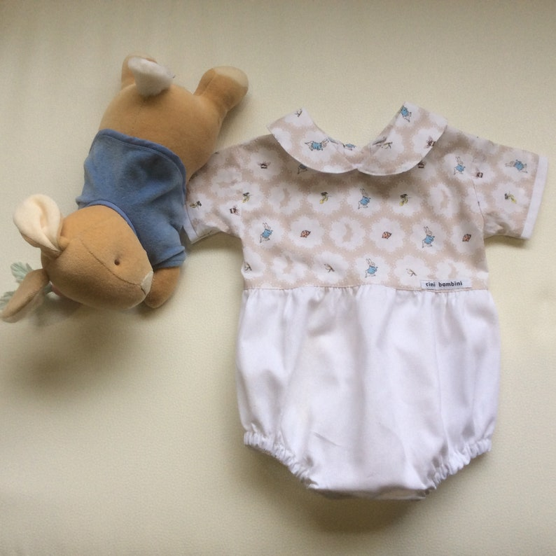b83dc5f278bd Boys Peter Rabbit Romper Custom MADE TO ORDER Sizes 0000 | Etsy
