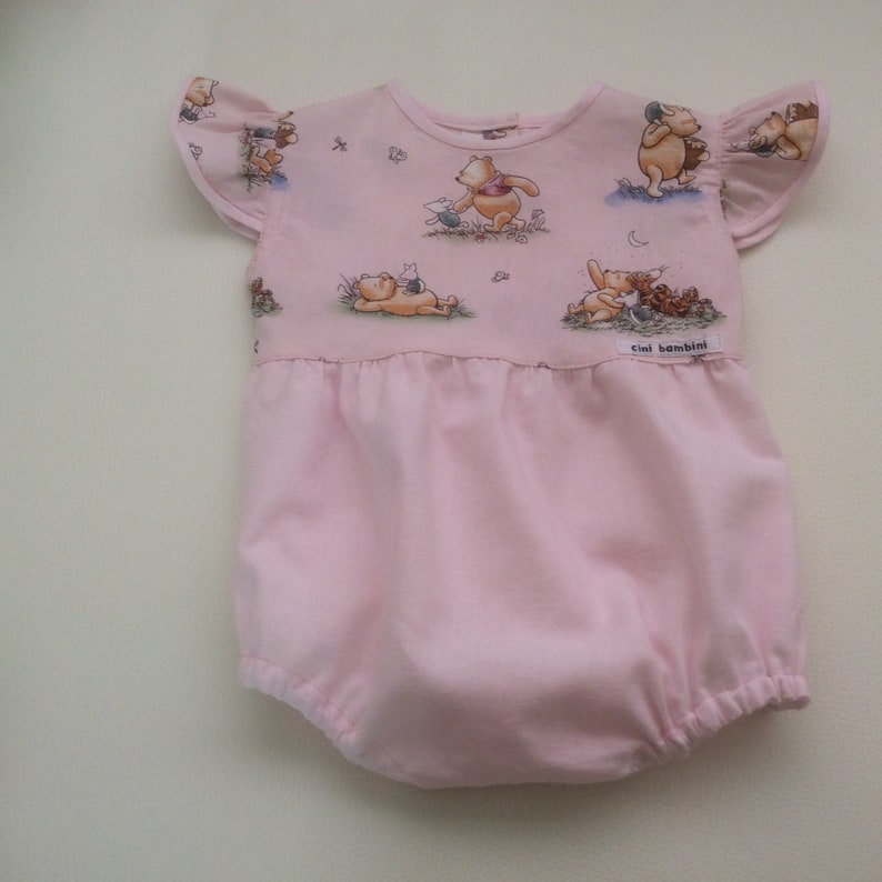 Girls Winnie the Pooh Romper Girls Outfit Ruffle Sleeve Romper Girls Playsuit Sizes 0000-2 Custom MADE TO ORDER Girls Bubble Romper