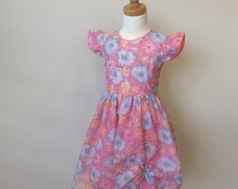 Girls Ruffle Sleeve Dress - Size 4, Floral Dress, Ruched Dress, Vintage Style Dress, Spring Dress, Pastel Dress, Pink Dress, READY TO SHIP