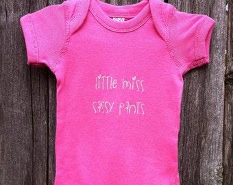 Little miss sassy pants screen printed onesie