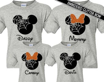 191cf8268 Halloween Family Mickey Minnie Shirts, Matching Vacation Shirts, Disney  Shirts Vacation, Mickey Head Shirts, Pumpkin, Spiderweb, Fall