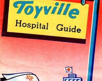 Vintage Toyville Hospital Guide Insert for Junior Doctor Kit Toy Hassenfeld Bros. Hasbro 1950's