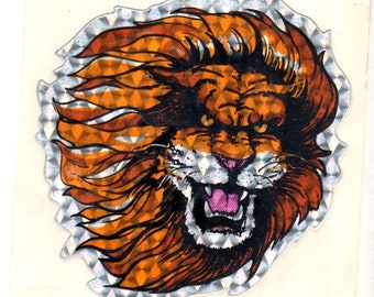 Vintage Lion Prism Stick-On Sticker 1980's