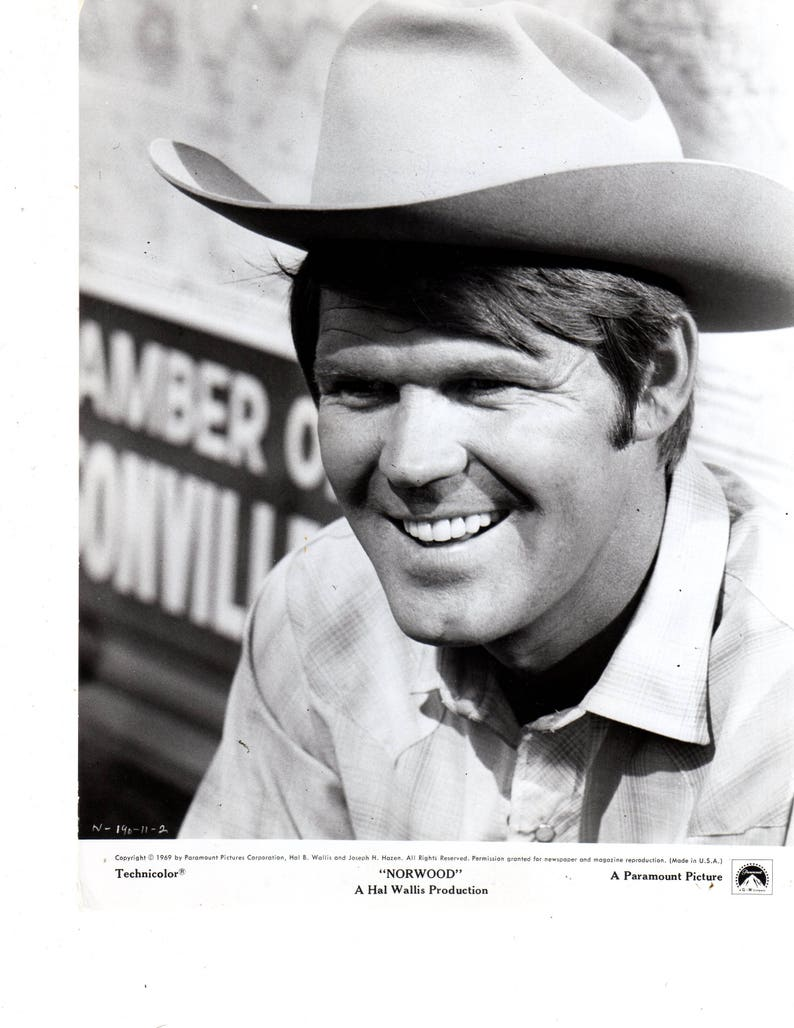 Glen campbell norwood movie 1970 press black white photo etsy