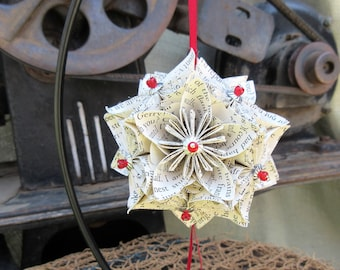Origami Kusudama Ball, Kissing Ball, Old Book Paper, Vintage Book Paper, Ornament, Bridesmaids Gift, Housewarming Gift, Red, Silver