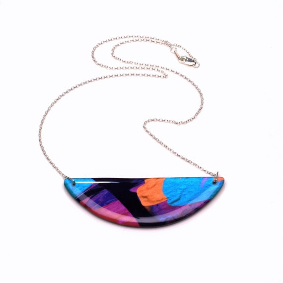 geometric resin and acrylic necklace gift for her Hexagonal necklace statement jewellery colourful necklace wearable art necklace
