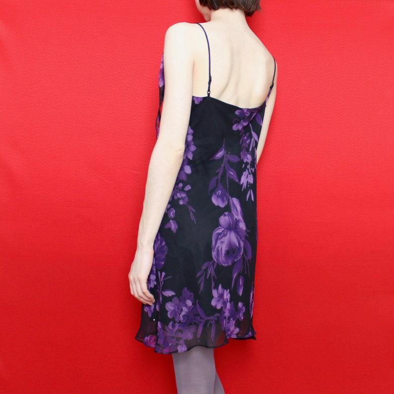 Size 10 Vintage 90s Black Purple Floral Pattern Asymmetrical Neckline Adjustable Spaghetti Strap A-Line Formal Mini Dress w Sheer Overlay