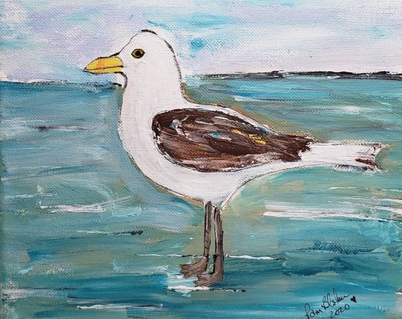 "Bird Art PRINT ""Seagull on the Beach"" / Created from original acrylic painting by Pam Blohm/ Ocean Artwork / 5x7 OR 8x10"