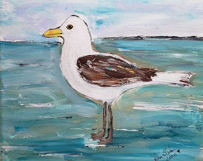 """Fine Art  PRINT """"Seagull on the Beach"""" -Created from original acrylic painting by Pam Blohm- Ocean Artwork -5x7 OR 8x10 Print available"""