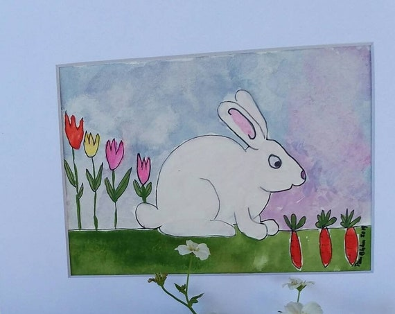 "Original Watercolor  ""Time for Carrots"" / 8x10 matted art/ Home Decor/Nursery art/babies room/childroom art/rabbit/bunny"