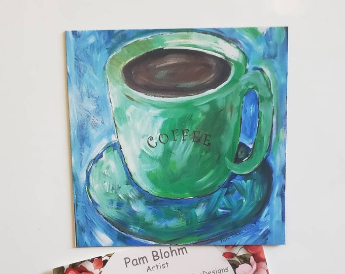 """Refrigerator artist magnet / 3.5"""" x 3.5"""" Coffee art Kitchen and office decor / Coffee lover gift idea made in USA"""