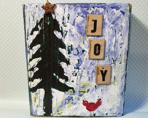"Christmas ""JOY"" one of a kind Mixed  Media & Acrylic Painting on Wood."