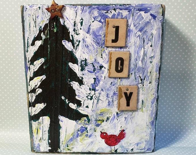 "Christmas ""JOY"" one of a kind Mixed  Media & Acrylic Painting on Wood."