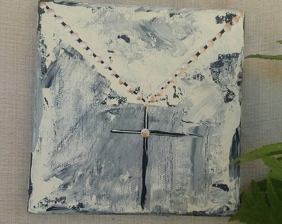 """New """"Black and Gold""""  gold chain with black cross  5x5  original acrylic painting and ink. Religious art/black and gold/home decor/wall art"""