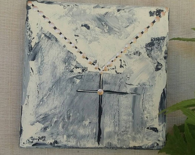 "New ""Black and Gold""  gold chain with black cross  5x5  original acrylic painting and ink. Religious art/black and gold/home decor/wall art"