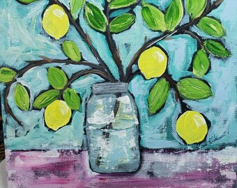 "Original "" Tropical Flair"" lemon branch acrylic painting/ 8x10 Canvas Panel/ Kitchen decor / lemon artwork"