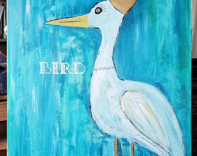 """Original Acrylic Painting """"Bird"""" - 24x36 Large art wrapped canvas -Whimsical Crowned Bird"""