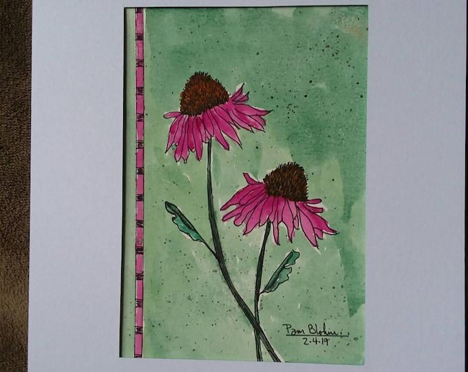 "Original Watercolor & Ink - ""Magenta "" Coneflower /Matted 8x10 / Home decor/wall art/original painting/floral art/botanical /free shipping"