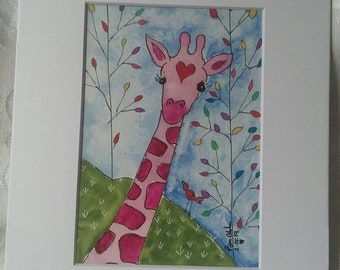 "Pink Giraffe ""Lucy"" in rainbow forest-8x10 Original Watercolor Nursery Painting- Home decor/childroom art/Zoo art"