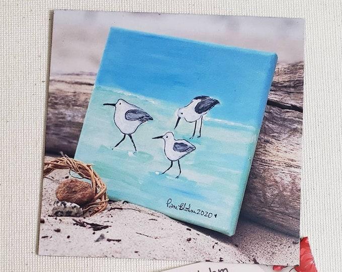 """Refrigerator magnet """" Shorebirds on the beach"""" - Artists Ocean Birds- 3.75 x3.75 metal surface small art - kitchen-office decor"""