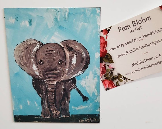 "Art MAGNET  ""Elephant"" small art gift idea / home or office decor/ made in the USA/ Zoo animal / magnet collector"