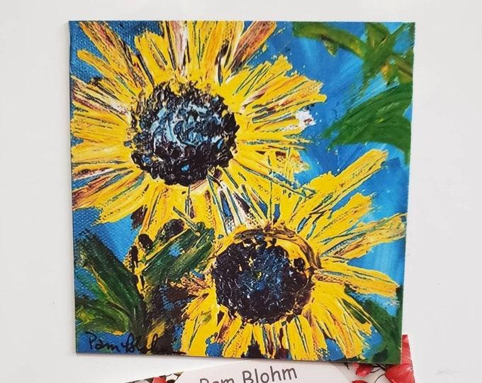 "Fine Art Fridge MAGNET ""Two Sunflowers "" 3.5"" x 3.5"" small art/kitchen decor/gift idea /flower art by Pam Pam Blohm /gift idea /made in USA"