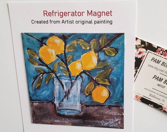 "ART MAGNET "" Lemon Branch"" kitchen decor/magnet collector gift idea /office small art/made in USA"