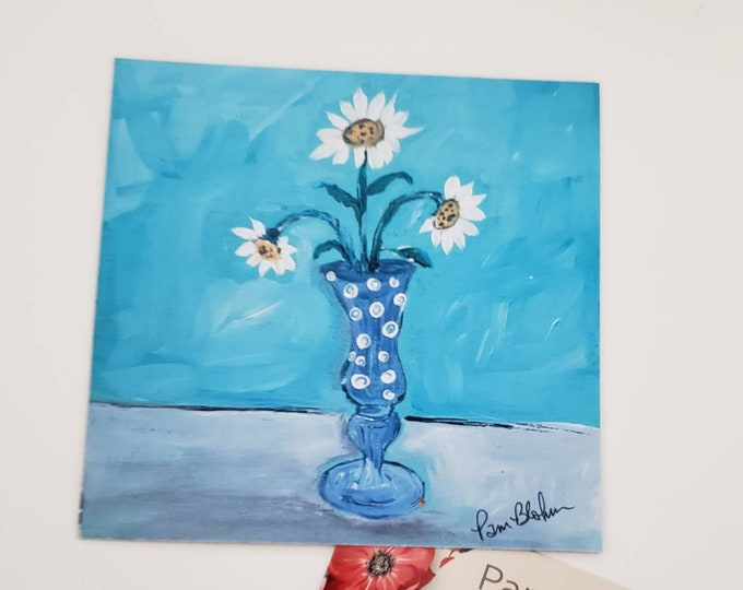 """Flower vase magnet 3.5x3.5 inch - print from artist original painting """"Daisies in a Vase """" - Made in the USA"""