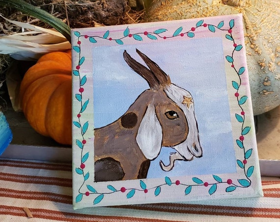 "6x6 small art canvas "" Billy Goat"" farm  animal painting."