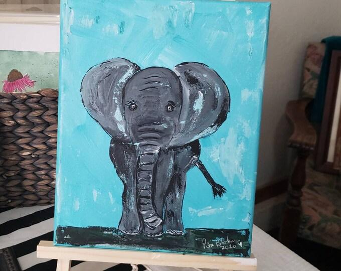 "Elephant Art ""Pete the Elephant"" - 8x10 Original acrylic Painting- Zoo Themed Nursery Wall Art - Elephant Lover Gift Idea"