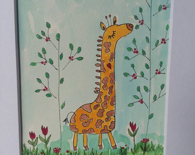 "Origianl Watercolor Painting  ""Bongo in the green leaf Jungle"" /Giraffe artwork /  8x10 Matted art/  Nursery art/childroom decor/ gift idea"