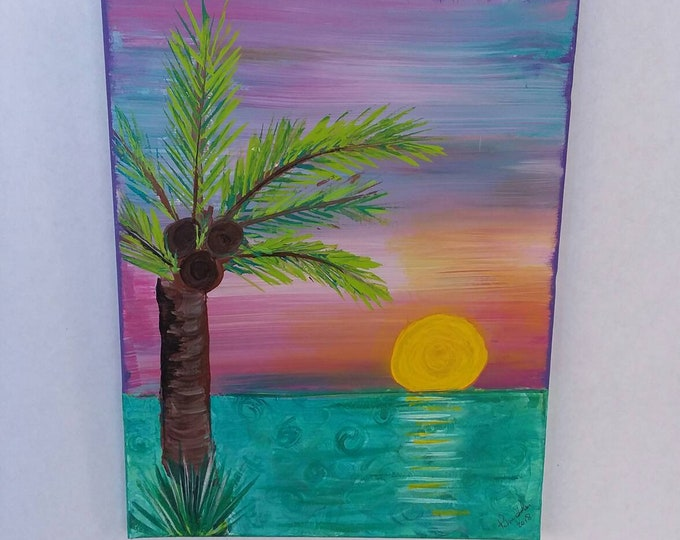 "Bold and Bright ""Hawaii Sunset"" is acrylic original . 11x14 /Wall art /wall Decor/bedroom art/Hawaii art/palm tree/original painting/sunset"