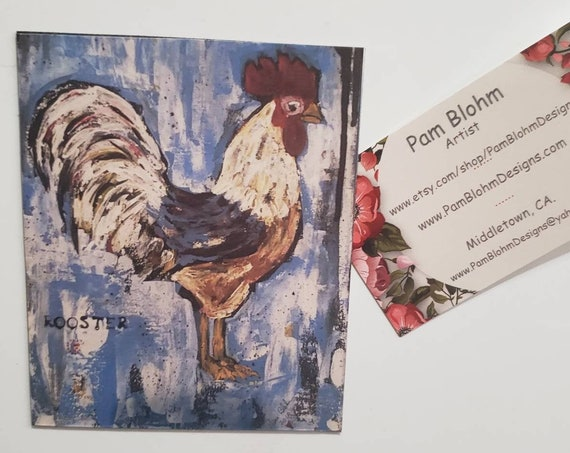 "Art MAGNET  ""Rooster "" farmhouse small art /Country home decor / Chicken lovers gift idea / kitchen small art / made in the USA"