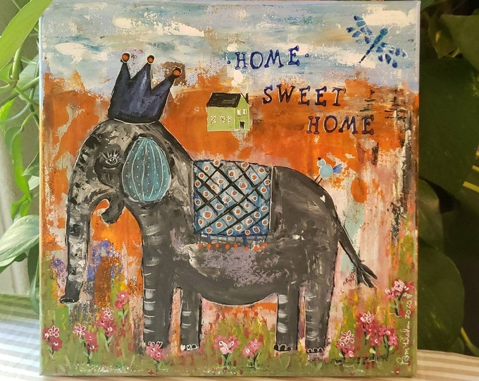 """Crowned Elephant  """"Home Sweet Home""""  - 12x12 Original Acrylic Painting - Orange and Grey Whimsical Wall Art - Canvas Home Decor"""